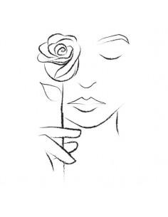 Dievča s ružou -...