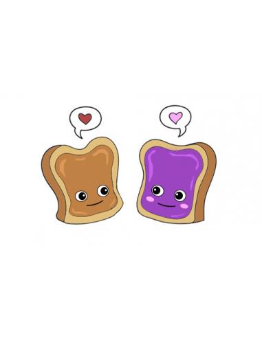 Dva zamilované toasty - nalepovacie...