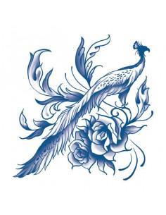 Modrý páv s ružami -...