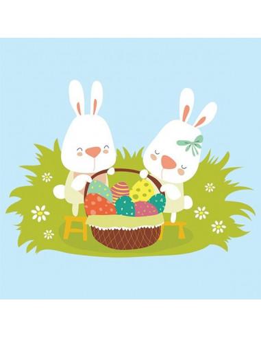 Zajačikovia s košíkom - veľkonočná...
