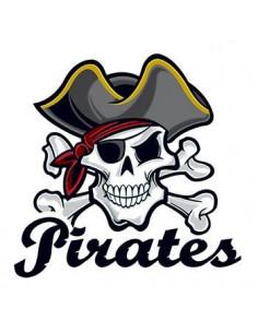 Pirátska lebka s nápisom...