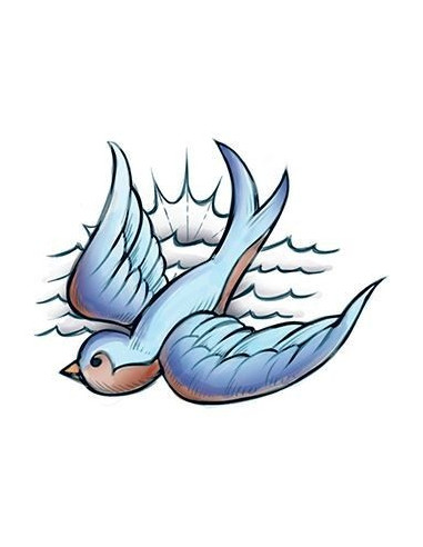 Modrá lastovička - nalepovacie tetovanie