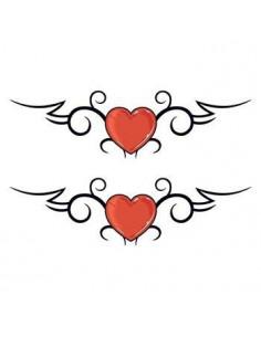Dve červené srdcia - tribal...