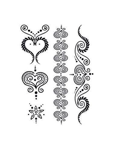 Čierne srdcia - henna dočasné tetovanie