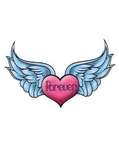 Srdce s krídlami a nápisom...