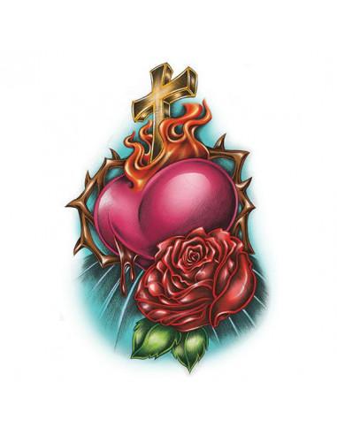 Náboženský motív kríž, srdce a ruža -...