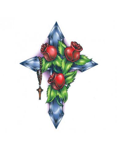 Ruže na kríži - veľké dočasné tetovanie