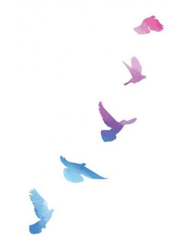 Letiace vtáky - watercolor dočasné...