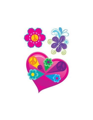 Srdiečko a kvetinky - nalepovacie...