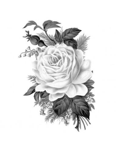 Šedá ruža - nalepovacie tetovanie