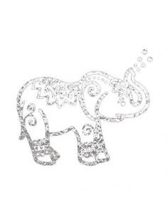 Metalický strieborný slon -...
