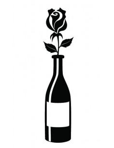 Fľaša vína s ružou -...