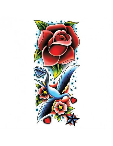 Ruža a lastovička - veľké nalepovacie...